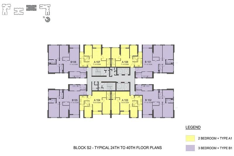 Mặt bằng toàn nhà S2 chung cư Season Avenue