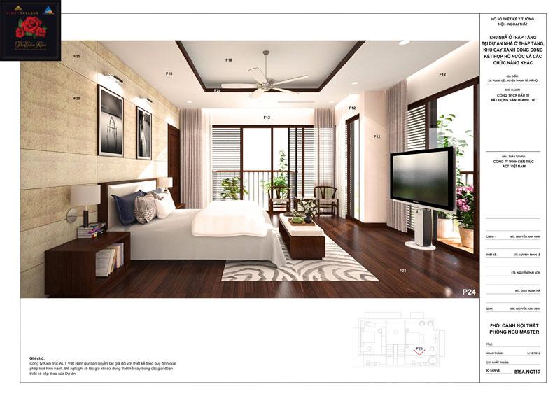 Thiết kế nội thất phòng ngủ master căn hộ biệt thự The Eden Rose