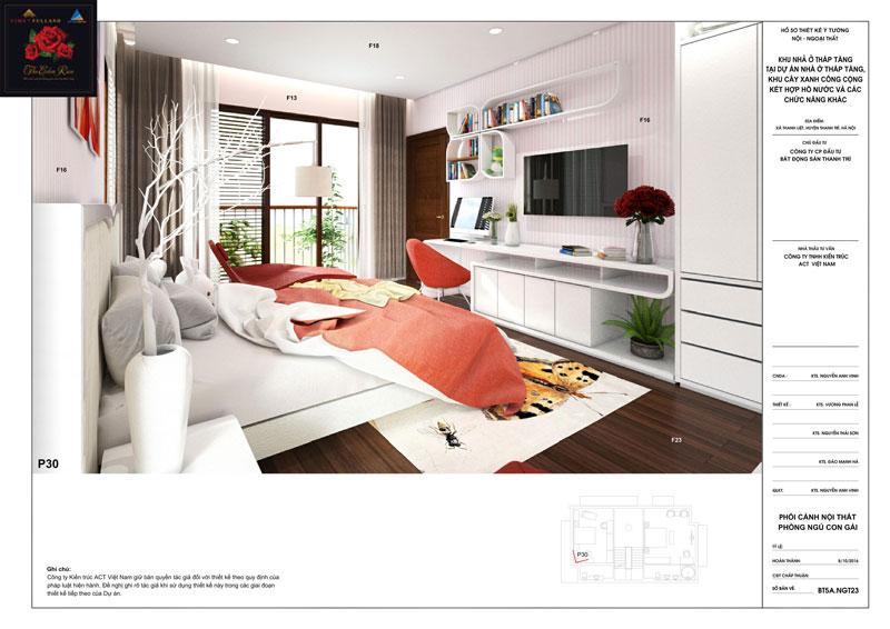 Thiết kế nội thất phòng ngủ con gái căn hộ biệt thự The Eden Rose
