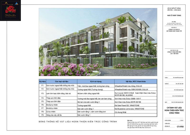 Thiết kế chi tiết kiến trúc khu liền kề nhà vườn The Eden Rose