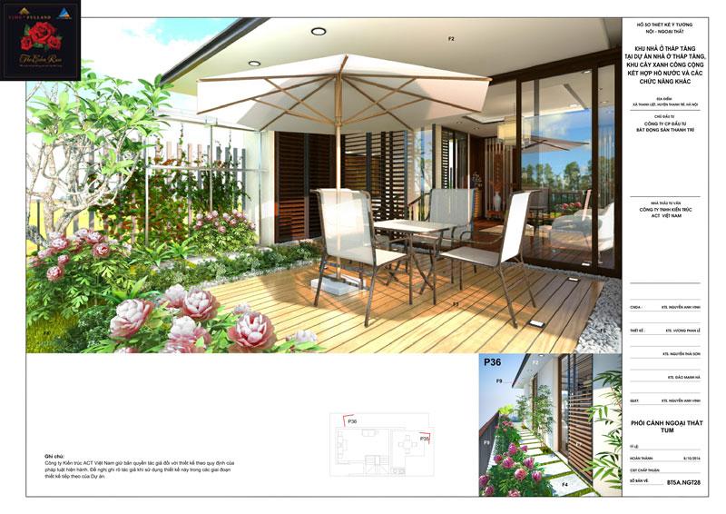 Thiết kế ngoại thất sân vườn tầng tum căn hộ biệt thự The Eden Rose