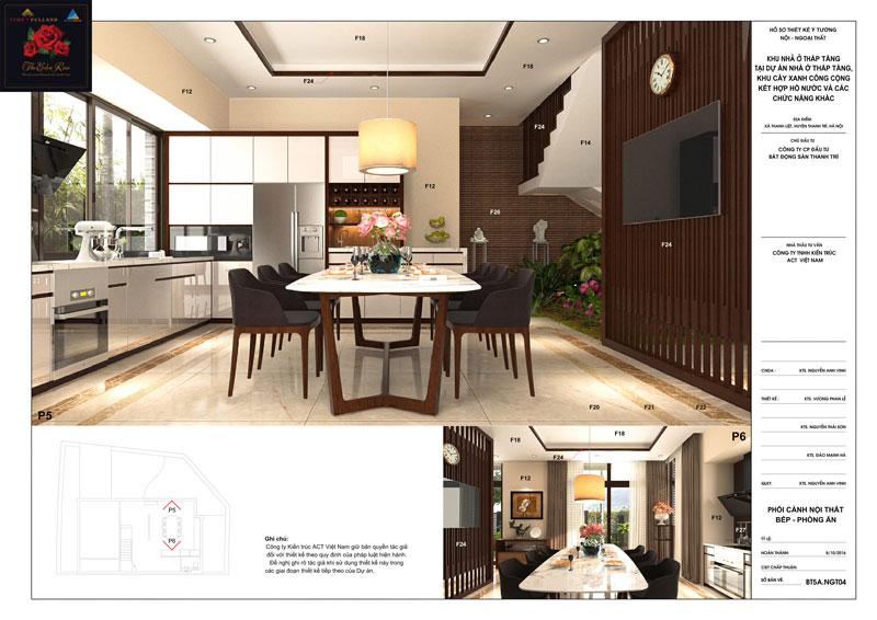 Thiết kế nội thất phòng bếp tầng 1 căn hộ biệt thự The Eden Rose