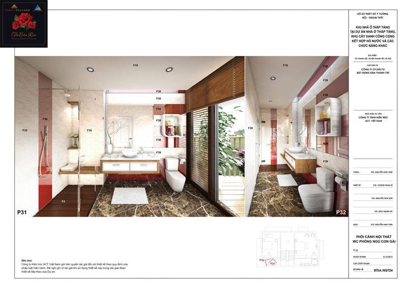 Thiết kế nội thất wc phòng ngủ con gái căn hộ biệt thự The Eden Rose